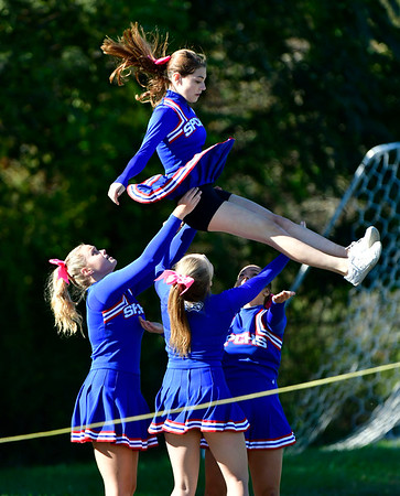 10/5/2019 Mike Orazzi | StaffrSt Paul Catholic High School Cheerleaders during Saturday's football game with Ansonia in Bristol.