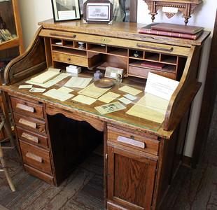 A classic roll-top desk