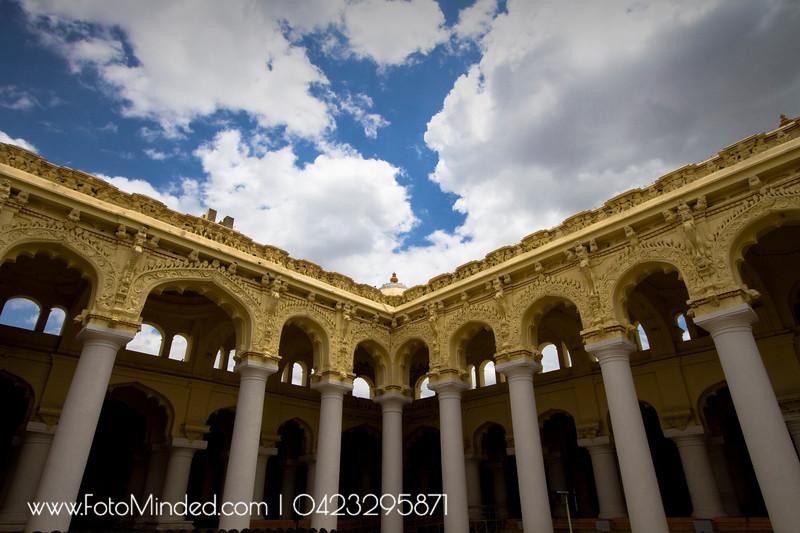 A portion of Thirumalai Nayakkar Mahal, Madurai, India.