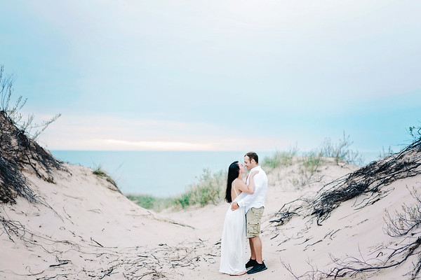 Lake Michigan Beach Engagement Session - Shauna & Paul