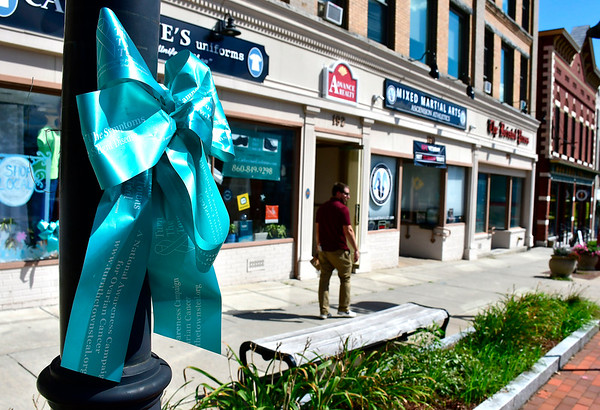 8/29/2019 Mike Orazzi | Staff Teal ribbons on Main Street in downtown Bristol for September which is Ovarian Cancer Awareness Month.