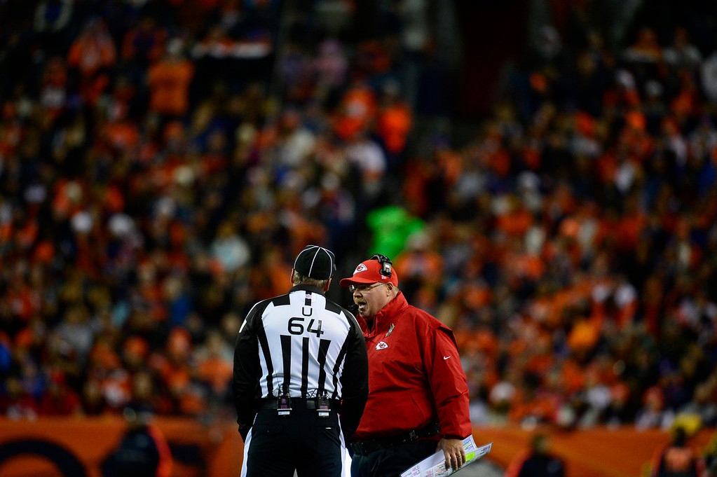 . Kansas City Chiefs head coach Andy Reid talks with the referee in the first quarter. The Denver Broncos take on the Kansas City Chiefs at Sports Authority Field at Mile High in Denver on November 17, 2013. (Photo by AAron Ontiveroz/The Denver Post)