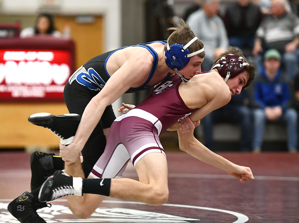 2/12/2020 Mike Orazzi | StaffrBristol Easterns Trent Thompson and Bristol Centrals Colton Pelletierin the 113 match at Bristol Central Wednesday night.