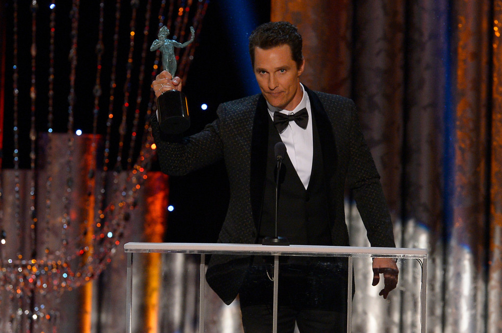 . Matthew McConaughey, �Dallas Buyers Club� accepts Outstanding Performance by a Male Actor in a Leading Role during the show of the 20th Annual Screen Actors Guild Awards  at the Shrine Auditorium in Los Angeles, California on Saturday January 18, 2014 (Photo by Andy Holzman / Los Angeles Daily News)