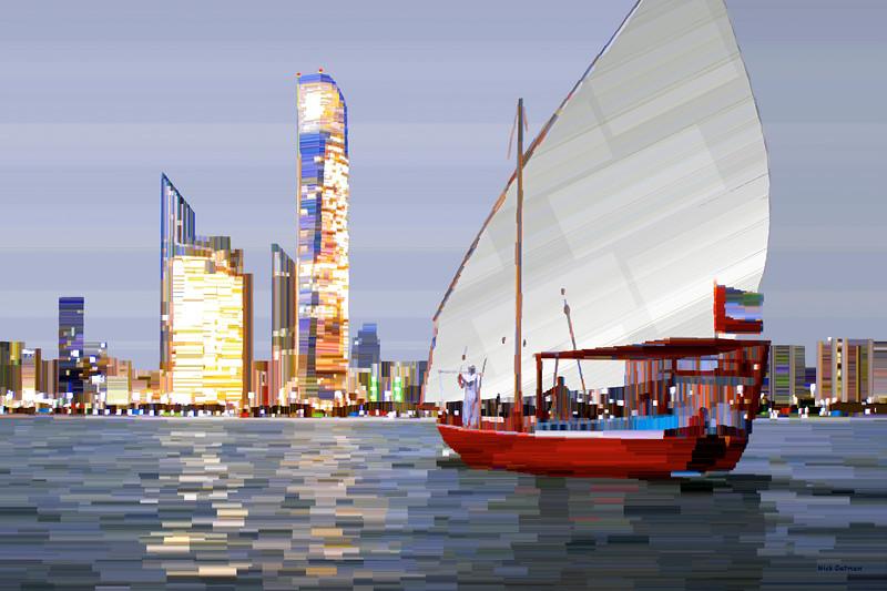 Abu Dhabi and Sail Boat - digital Painting