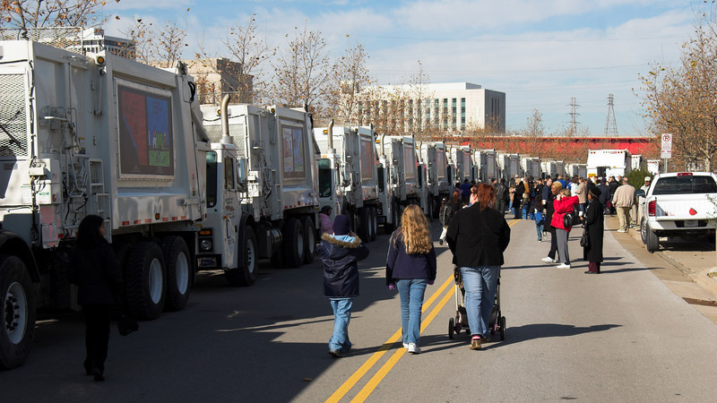 On Saturday, December 2nd, Public Works and Red River hosted a special viewing of all trucks displaying the winning artwork for the students and their families.