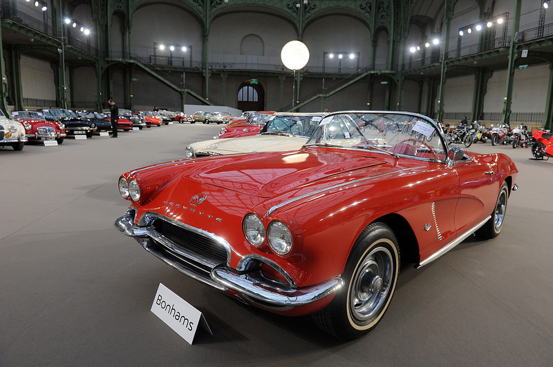 . A 1962 Chevrolet Corvette is displayed ahead of a sale of vintage cars by Bonhams auction house, at Le Grand Palais on February 5, 2014 in Paris, France.  (Photo by Antoine Antoniol/Getty Images)