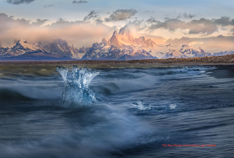 images from thef seventh day of Adamus photo tour In Torres Del Paine, wave action on Lago Viedma
