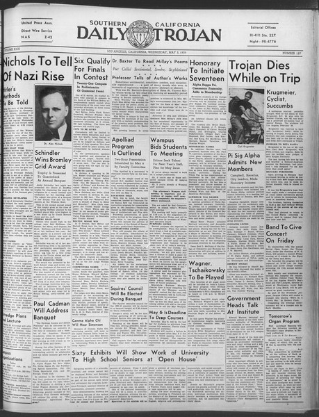 Daily Trojan, Vol. 30, No. 128, May 03, 1939