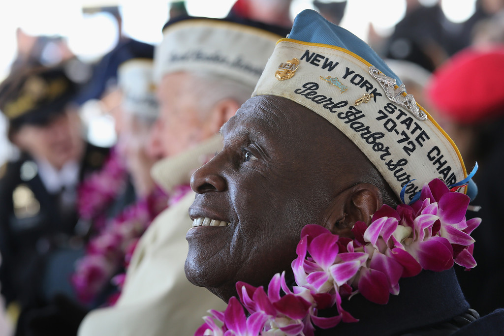 . Pearl Harbor survivor Clark Simmons, 92, takes part in a ceremony marking the 72nd anniversary of the attack on December 7, 2013 in New York City. (Photo by John Moore/Getty Images)