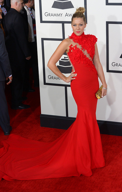 . Colbie Caillat arrives at the 56th Annual GRAMMY Awards at Staples Center in Los Angeles, California on Sunday January 26, 2014 (Photo by David Crane / Los Angeles Daily News)