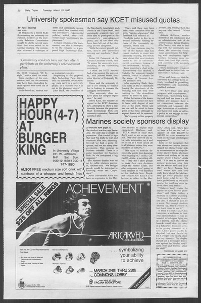 Daily Trojan, Vol. 88, No. 35, March 25, 1980