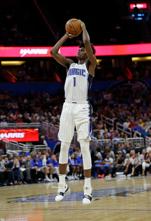 . Orlando Magic\'s Jonathan Isaac takes a shot against the Cleveland Cavaliers during the second half of an NBA preseason basketball game, Friday, Oct. 13, 2017, in Orlando, Fla. Cleveland won 113-106. (AP Photo/John Raoux)