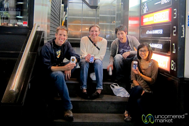Sake & Beer on the Steps of Shinjuku, Japan