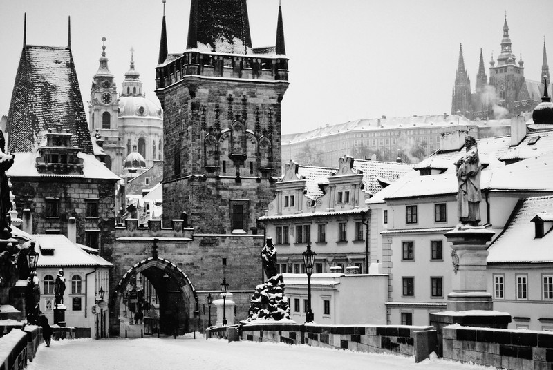 Charles Bridge and Castle Snow Winter Mono(1).jpg