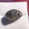 0.94ctw Vintage Old European Cut Diamond Dome Ring, Center OEC (GIA .59ct G SI2) 14