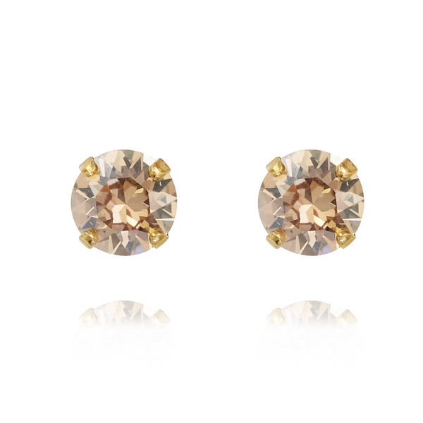 Petite Stud Earrings / Golden Shadow Gold