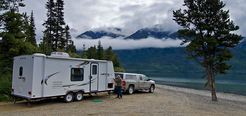 Making camp, Tutshi Lake, British Columbia.