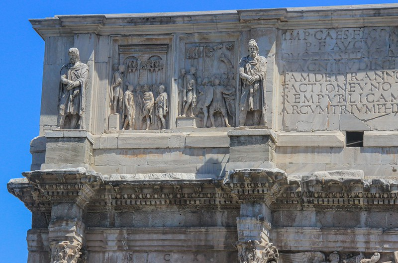 Detail of the top of Constantine Arch .