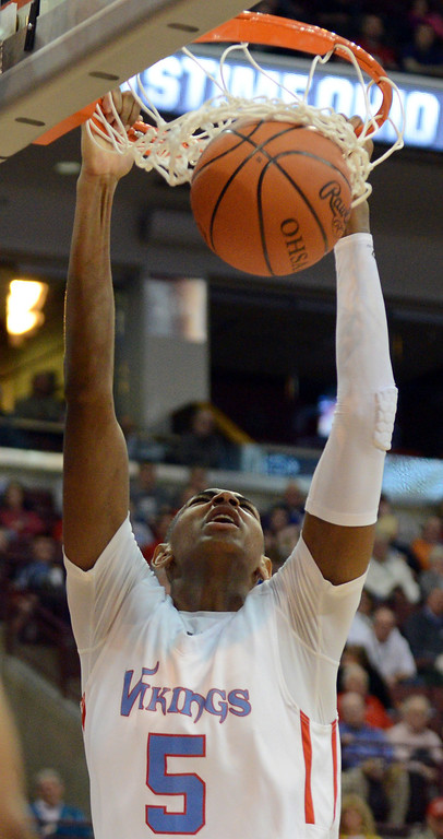 . Duncan Scott/DScott@News-Herald.com VASJ\'s Dererk Pardon dunks the ball in the fourth quarter. VASJ won the Division III state semifinal over Columbus Bishop Ready on March 21, 55-40, to advance to the state final on March 22.