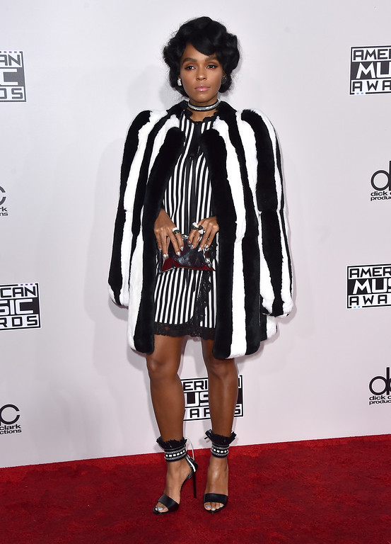 . Janelle Monae arrives at the American Music Awards at the Microsoft Theater on Sunday, Nov. 20, 2016, in Los Angeles. (Photo by Jordan Strauss/Invision/AP)