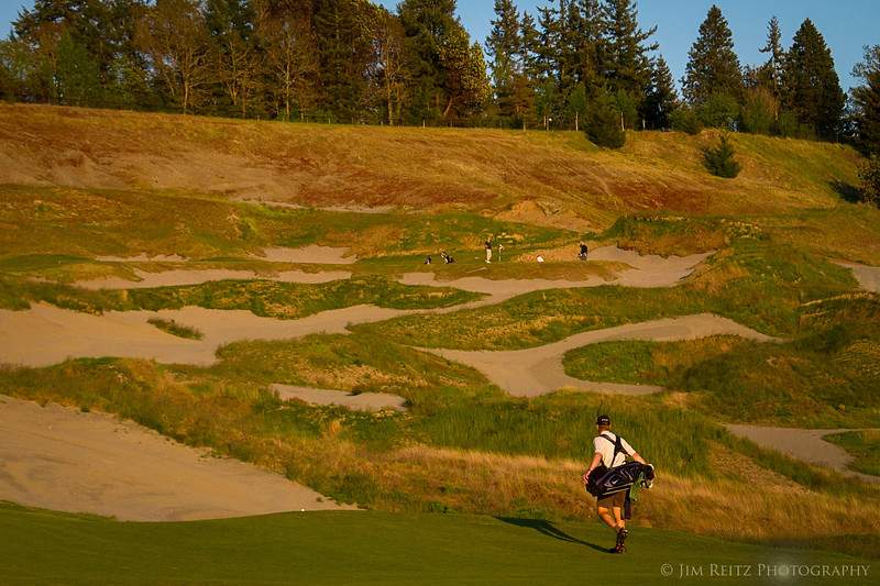 A minefield of bunkers separates the green from the fairway, at the par-five 4th hole at Chambers Bay. Going around to the left is the smart play.