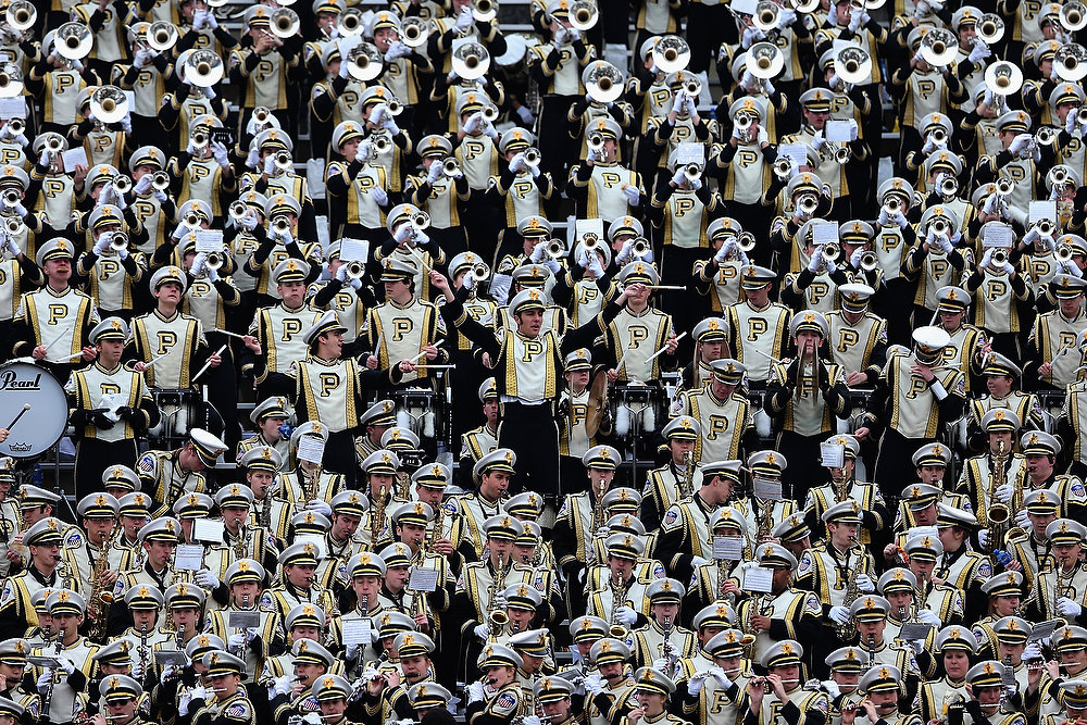 . The Purdue Boilermakers band performs during the Heart of Dallas Bowl at Cotton Bowl on January 1, 2013 in Dallas, Texas.  (Photo by Ronald Martinez/Getty Images)