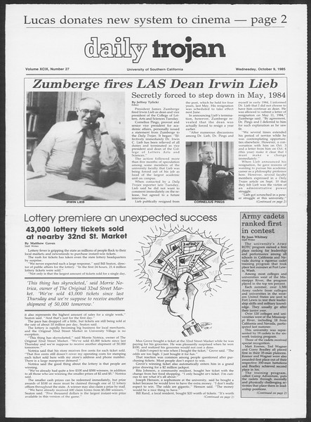 Daily Trojan, Vol. 100, No. 27, October 09, 1985