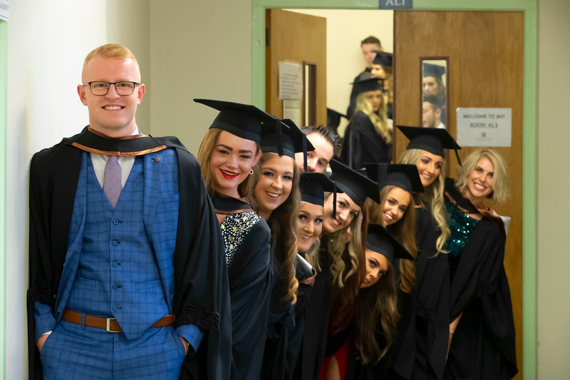 30/10/2019. Waterford Institute of Technology (WIT) Conferring Ceremonies is Dean Cornally from Kilkenny with his class who graduated BA in Health Promotion . Picture: Patrick Browne