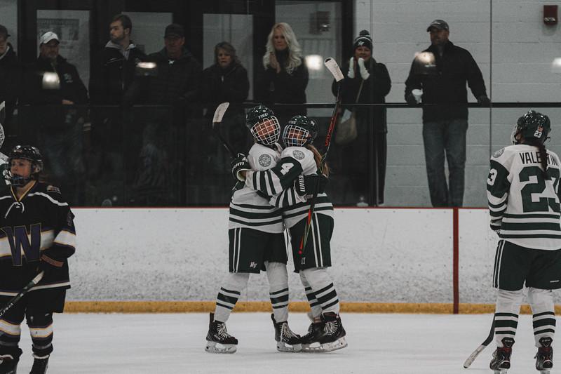 Holy Family Varsity Girls Hockey vs. Waconia, 1/9/20: Grayson Limke '23 (19) & Cecily Cronin '20 (4)