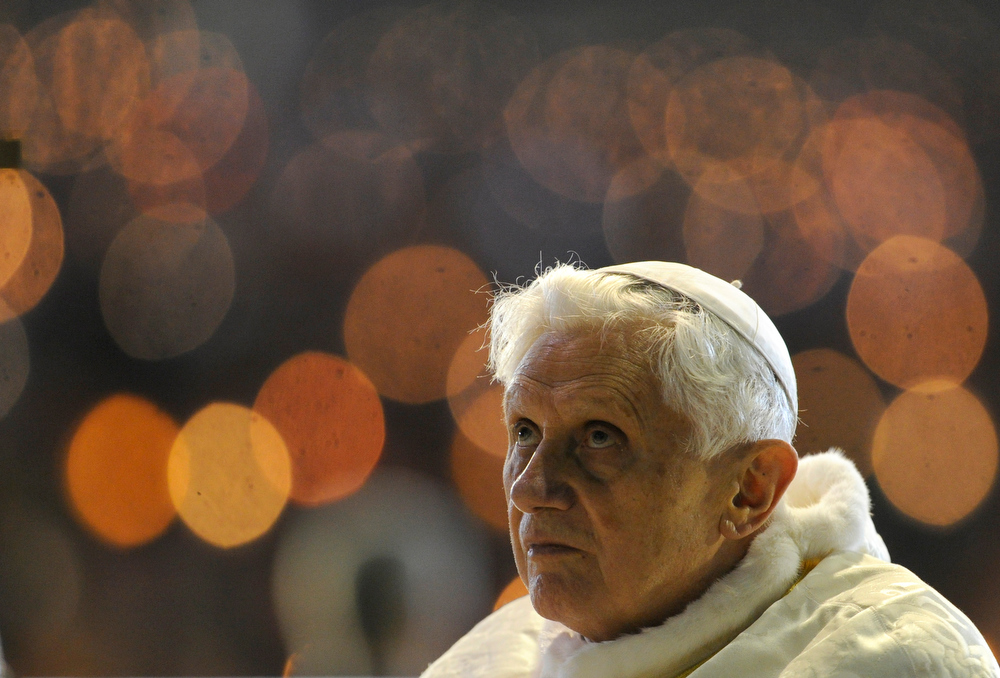 . A file picture taken on May 12, 2010 shows Pope Benedict XVI leading the Rosary at the Chapel of the Apparitions in Fatima\'s Sanctuary. Pope Benedict XVI announced on February 11, 2013 he will resign on February 28 because his age prevented him from carrying out his duties, an unprecedented move in the modern history of the Catholic Church. PHILIPPE MARCOU/AFP/Getty Images