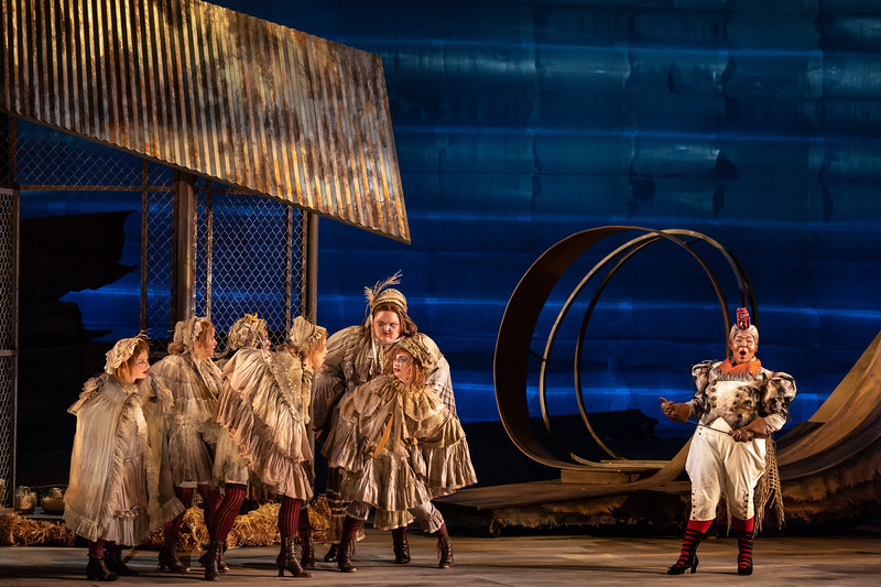 """Amber R. Monroe as the Rooster wtih members of the ensemble in The Glimmerglass Festival's 2018 production of Janáček's """"The Cunning Little Vixen."""" Photo: Karli Cadel/The Glimmerglass Festival"""