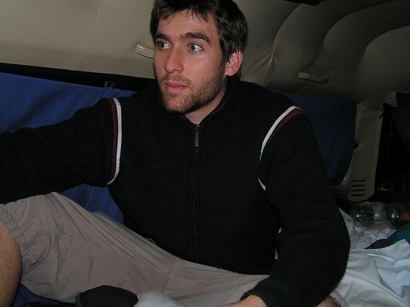 Andy in the van.