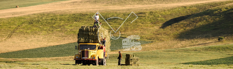 Stacking hay on a truck