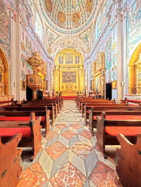 Interior of the church of Hospital de los Venerables Sacerdotes, Seville, Spain