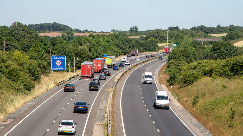 Traffic on the A42 road in the East Midlands