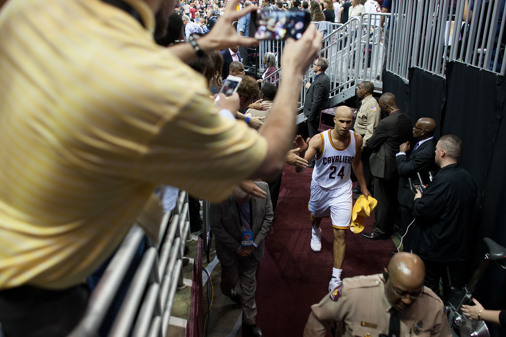 . Richard Jefferson of the Cleveland Cavaliers walks into the locker room during game 4 of the NBA Finals against the Golden State Warriors at the Quicken Loans Arena on June 10, 2017.  The Cavs defeated the Warriors 137-116.
