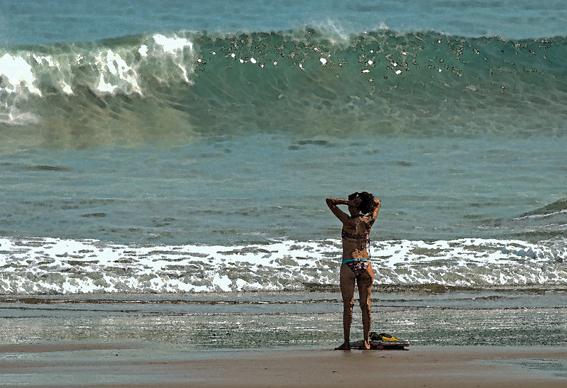 Checking the surf