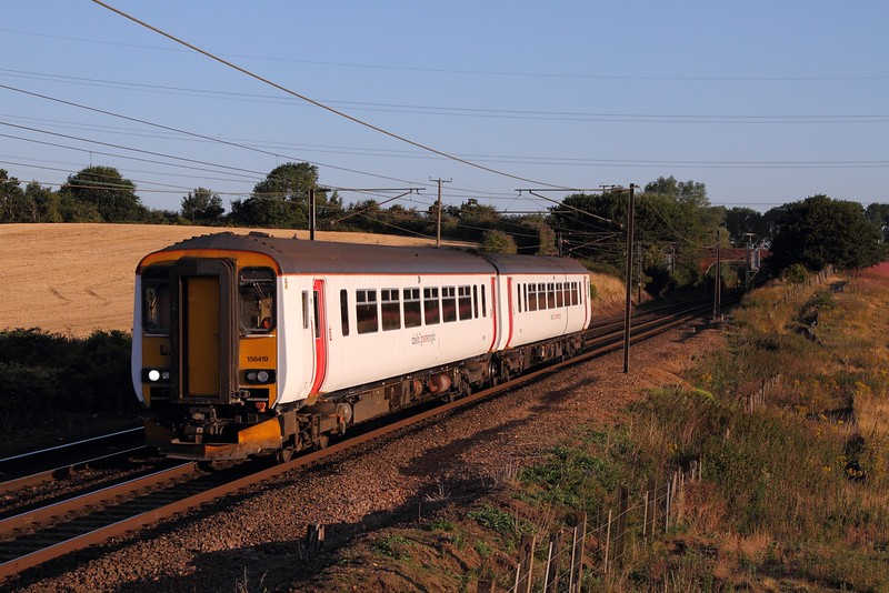 156419 on the 5W04 0553 Norwich to Ipswich at Baylham on the 4th August 2015.JPG