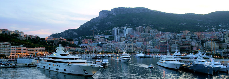 Evening arriving in Monaco.