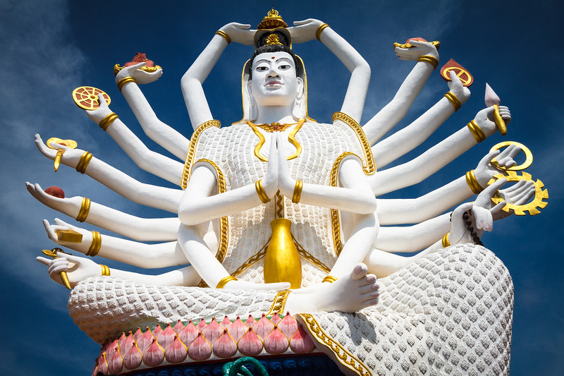 The colorful Guanyin, the Chinese Goddess of Mercy and Compassion who has 18 arms.