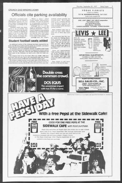 Daily Trojan, Vol. 72, No. 4, September 22, 1977