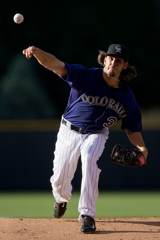 . Starting pitcher Christian Bergman #36 of the Colorado Rockies delivers to home plate during the first inning of his major league debut against the Atlanta Braves at Coors Field on June 9, 2014 in Denver, Colorado.  (Photo by Justin Edmonds/Getty Images)