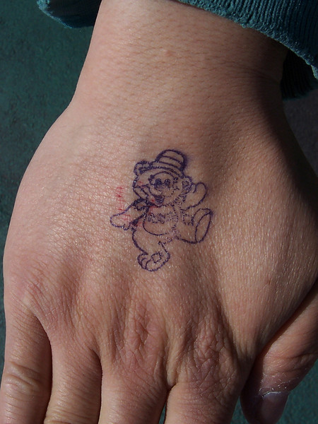 Canobie had new hand stamps. It's Patches, the teddy bear mascot.