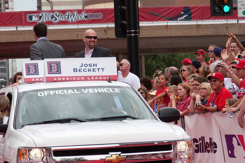 """Kevin Youkilis, Josh Beckett (back to camera), both Red Sox, 2009 MLB All Star Game """"Red Carpet Show"""", St. Louis, MO"""