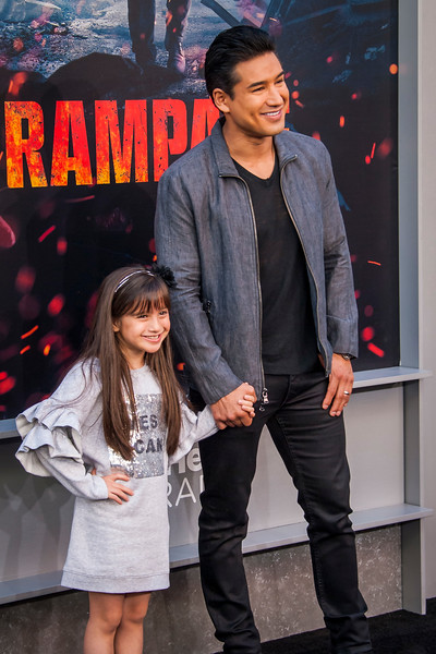 LOS ANGELES, CA - APRIL 04: Gia Francesca Lopez and Mario Lopez arrive at the Premiere Of Warner Bros. Pictures' 'Rampage' at Microsoft Theater on Wednesday April 4, 2018 in Los Angeles, California. (Photo by Tom Sorensen/Moovieboy Pictures)