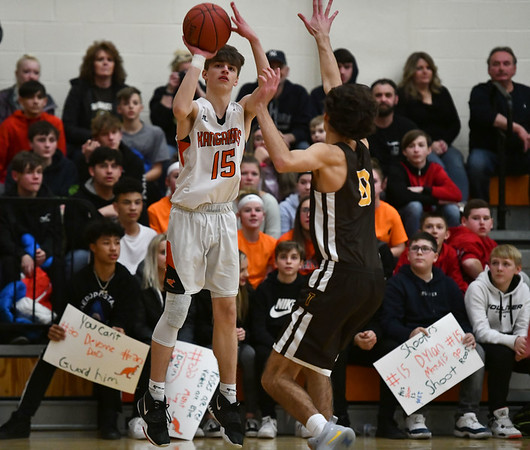 2/14/2020 Mike Orazzi | StaffrTerryville High School's Dylan Matulis (15) during Friday evening's boys basketball game with Thomaston in Terryville.