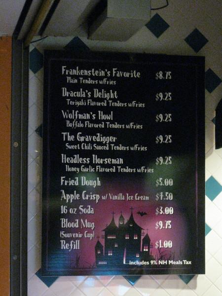 ScreeemFest Be Bop Diner menu.