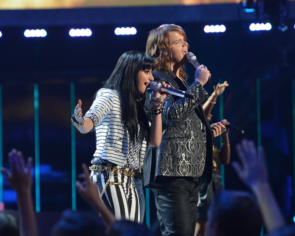 . AMERICAN IDOL XIII: L-R:  Jena Irene and Caleb Johnson on AMERICAN IDOL XIII at the NOKIA THEATRE L.A. LIVE airing Tuesday, May 20 (8:00-9:00 PM ET / PT) on FOX.  CR: Michael Becker / FOX. Copyright 2014 / FOX Broadcasting.