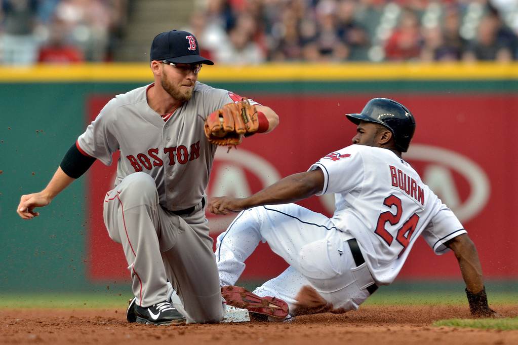 . Jeff Forman/JForman@News-Herald.com Michael Bourn steals second base as he beats the tag from Boston short stop Steven Drew in the first inning June 2 at Progressive Field.